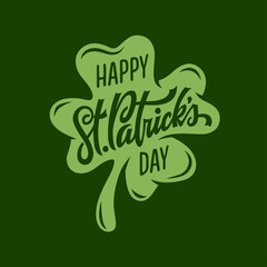 St. Patrick's day modern greeting lettering. Vector illustration.