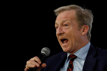 "Democratic presidential candidate Tom Steyer speaks during the ""Moving America Forward: A Presidential Candidate Forum on Infrastructure, Jobs and Building a Better America"" event in Las Vegas"