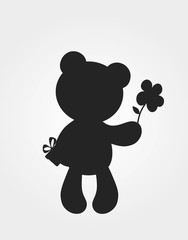 teddy bear with flower and gift silhouette. celebration design element