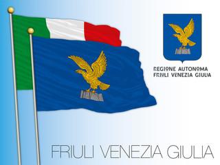 Friuli Venezia Giulia official regional flag and coat of arms, European Union, Italy, vector illustration