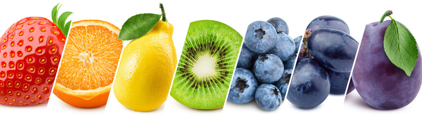 Collage of fresh color fruits, healthy food concept Fototapete