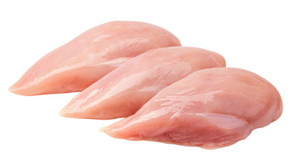 Foto op Plexiglas Kip Raw chicken breast, fillet, isolated on white background, clipping path, full depth of field