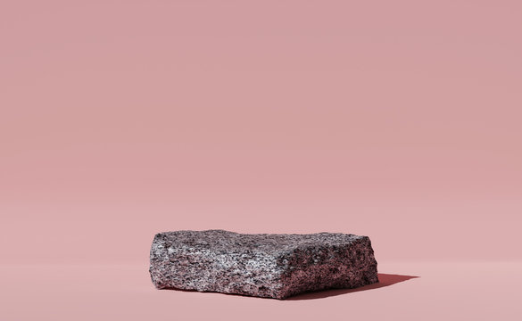 3D Stone, granite podium on pastel pink background. Minimal trendy pedestal platform for product promotion. Banner, 3D render with copy space. Simple bright illustration