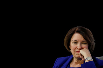 "U.S. Democratic presidential candidate Senator Amy Klobuchar listens to a question during the ""Moving America Forward: A Presidential Candidate Forum on Infrastructure, Jobs and Building a Better America"" event in Las Vegas, Nevada"