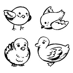 Simple vector hand drawn illustrations set. Cute little birds. Contour drawings collection isolated on white background. Graphic doodle, sketches. Primitive style pictures for design, print, card etc.