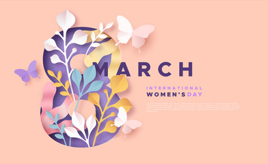 Women's day 8 march pink papercut spring card