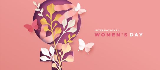 Women's day pink papercut nature symbol card
