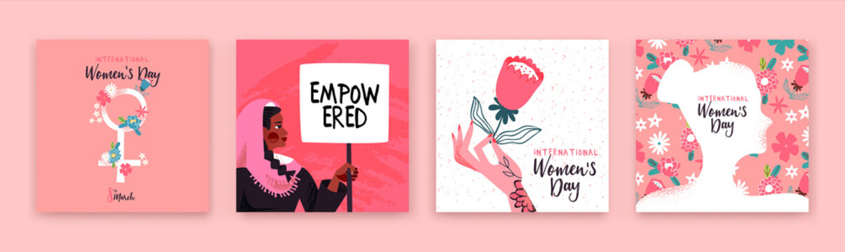 Women's day set of hand drawn womens rights card