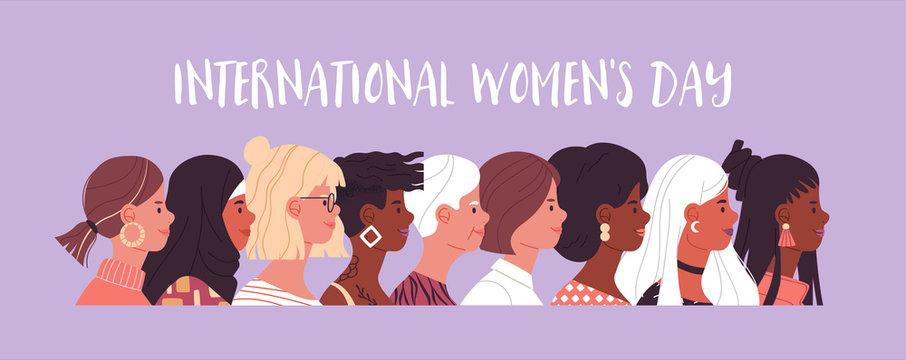 Women's day diverse women cartoon banner