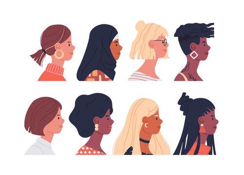 Diverse women portrait set isolated