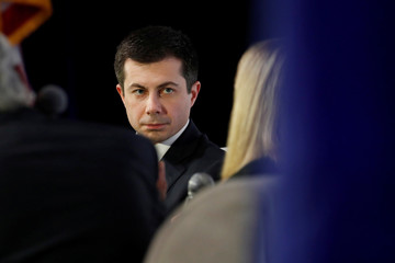 "Democratic U.S. presidential candidate and former South Bend Mayor Pete Buttigieg listens to question during the ""Moving America Forward: A Presidential Candidate Forum on Infrastructure, Jobs and Building a Better America"" event in Las Vegas, Nevada"
