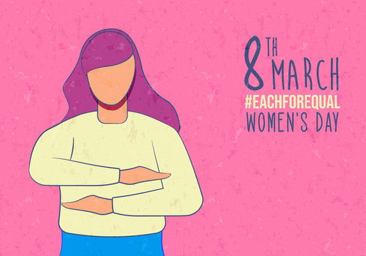 Happy Women's Day 8 march each for equal card