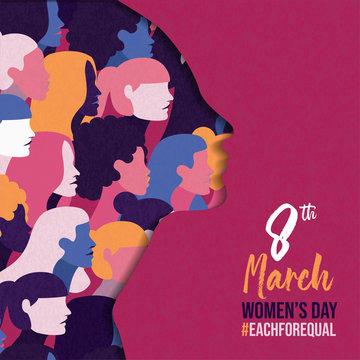 Women's Day 8 march card of diverse women team