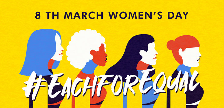 Women's Day 8 march banner of diverse woman group