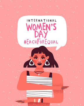 Women's day each for equal 8 march card