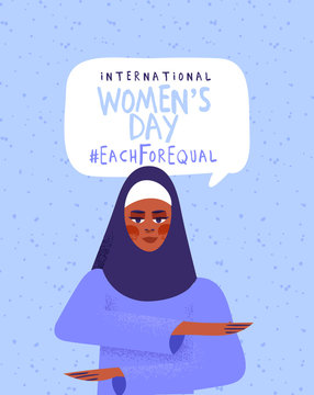 Women's day each for equal muslim diversity card