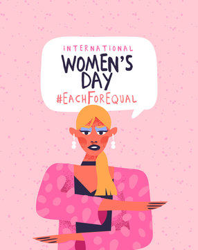Women's day each for equal pink woman card