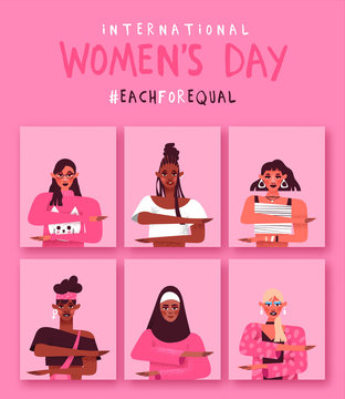 Women's day each for equal diverse woman card set