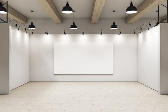 Contemporary gallery interior with blank billboard