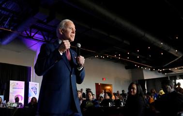 Democratic U.S. presidential candidate and former Vice President Biden speaks at the Nevada Black Legislative Caucus Black History Brunch in Las Vegas