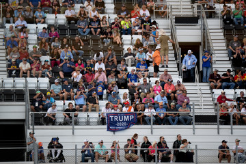 A Trump flag is displayed at the NASCAR Daytona 500 in Daytona Beach