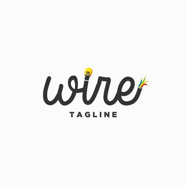 electric wire logo design inspiration . simple wire logotype design template . cable lightbulb colorful logo design
