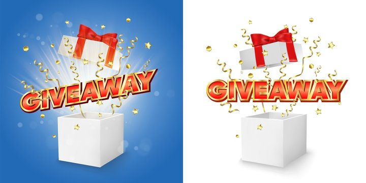 Giveaway gift box vector concept for banner, poster