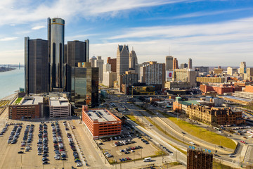 Wall Mural - Downtown Detroit visible logos editorial aerial photo