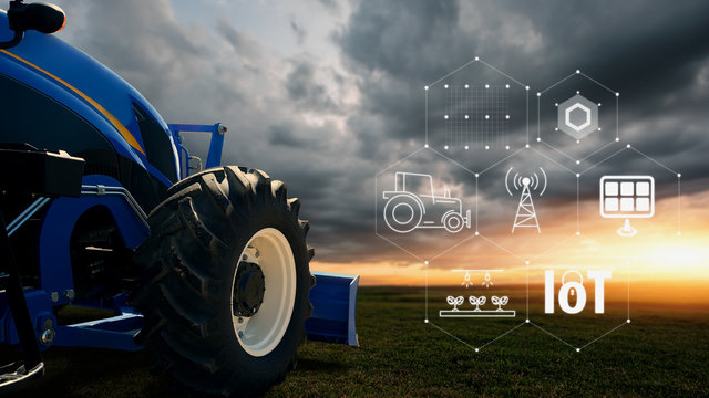 IOT smart farming, agriculture in industry with artificial intelligence and machine learning concept.Automatic tractor using carrier-phase differential GPS. Smart Technology 4.0 or society 5.0