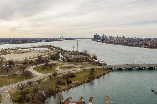 Aerial photo Belle Isle bridge to Detroit USA