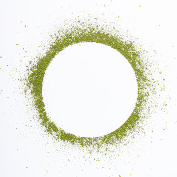 Heap of matcha green tea powder isolated on white background creative flat lay, Organic product from the nature for healthy with traditional style