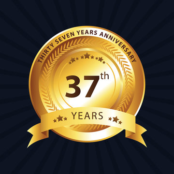 37th anniversary logo with gold ribbon
