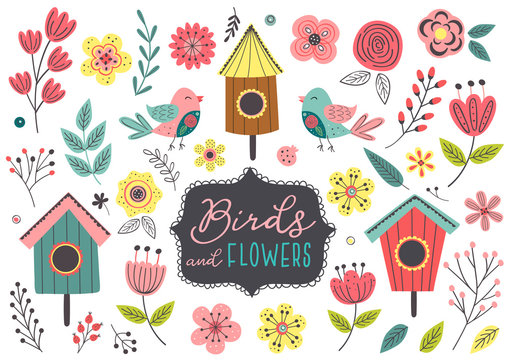set of isolated spring birds and flowers - vector illustration, eps