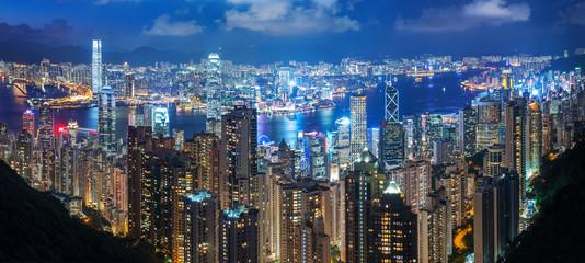Fototapete - Victoria Harbor of Hong Kong city at night