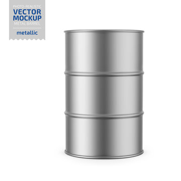 Gray metallic barrel mockup template.