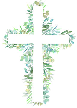 Watercolor easter cross with floral decoration.