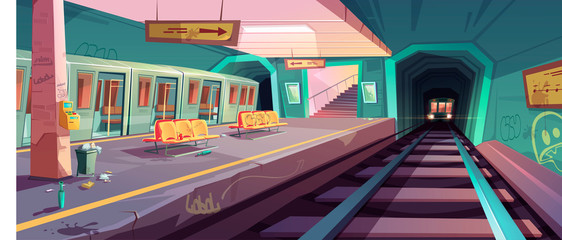 Papiers peints Graffiti Metro station, arriving train to empty subway platform from underground tunnel. Vector cartoon illustration of messy subway interior with trash, graffiti on seats and walls in ghetto area