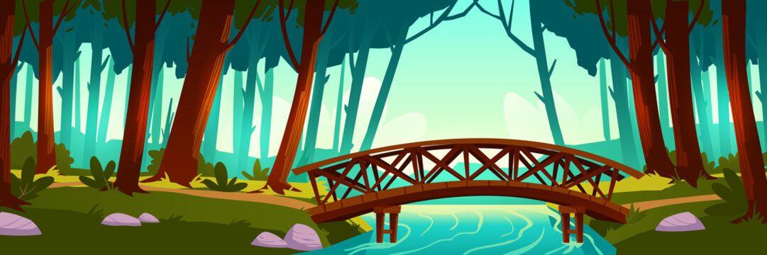 Wooden bridge crossing river in forest. Vector background of nature landscape with green trees, trail and wood bridge above brook. Cartoon illustration of summer wild park or garden with walkway