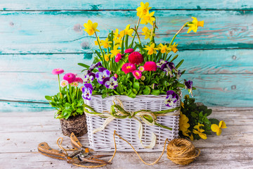 Decoration with spring flowers. Happy Easter.
