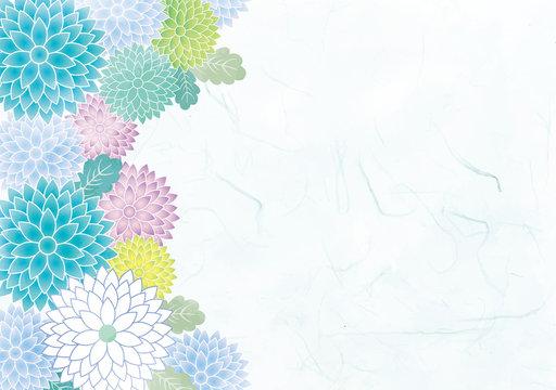 菊:和風 和柄 和 フレーム 菊 菊花紋 葉 植物 涼しい きれい シンプル 水彩 にじみ 和風