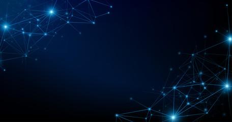 Internet network connection on dark background