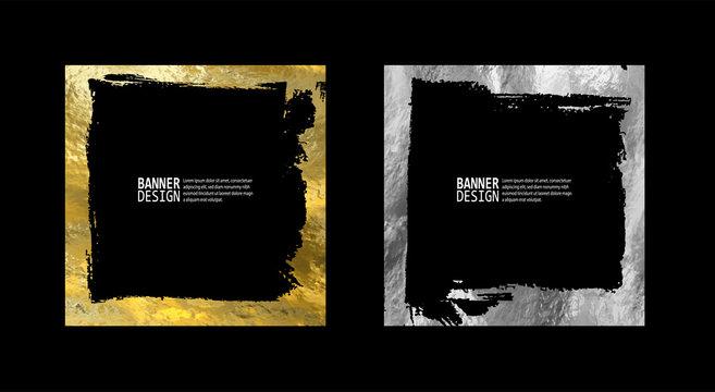 Square golden silver frame set on a black background.
