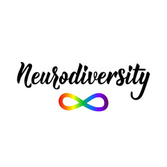 Neurodiversity. Lettering. calligraphy vector. Ink illustration. Calligraphic poster. World Autism awareness day.