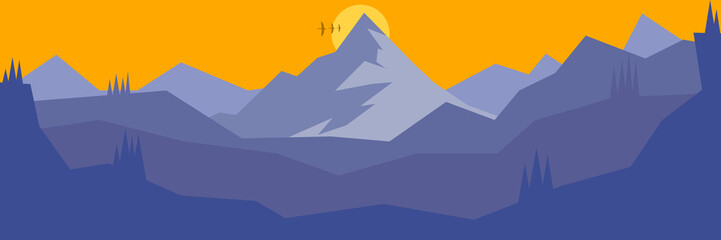 Vector landscape with mountain range,pine trees in matte blue color.