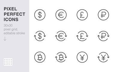 Currency exchange line icon set. Dollar, euro, pound, russian ruble, yen, bitcoin minimal vector illustration. Simple outline money sign for financial application. 30x30 Pixel Perfect Editable Stroke Fotoväggar