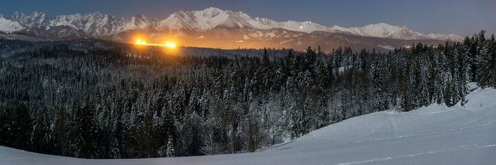 Wall Mural - Night panorama of winter Tatra mountains, Poland