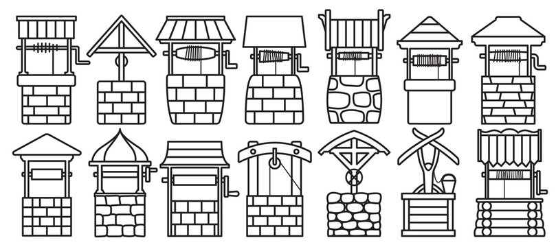 Water well vector outline set icon.Vector illustration wooden and stones wellspring on white background . Isolated outline set icon water well.