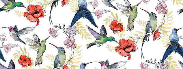 Seamless pattern with floral romantic elements, hand drawn colibri for your design. Endless texture, sketch humming-birds, watercolor flowers, isolated on white background. Vector illustration.  Fotobehang