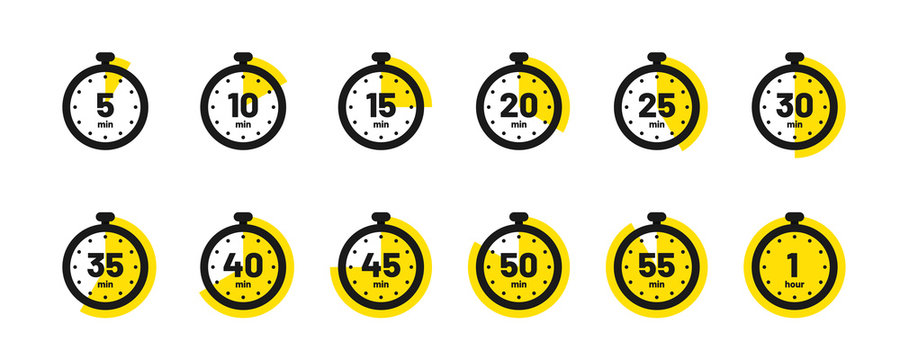Set of timer and stopwatch icons. Kitchen timer icon with different minutes. Cooking time symbols and labels