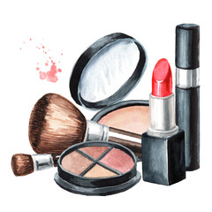 Lipstick, eyeliners, brushes, sponge, mascara and Foundation and face powder. Make-up concept. Hand drawn watercolor illustration,  isolated on white background